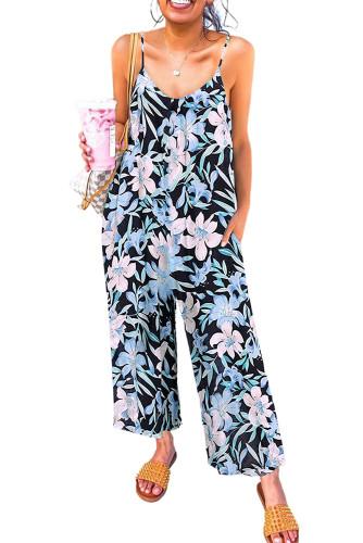 Green Floral Print Spaghetti Strap Wide Leg jumpsuit LC642434-9