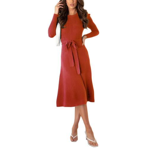 Rust Red Tie Waist Puff Sleeve Swing Sweater Dress TQK310657-33