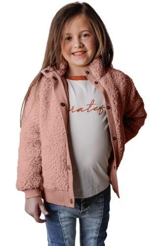 Pink Buttoned Solid Fleece Girl's Coat TZ85011-10