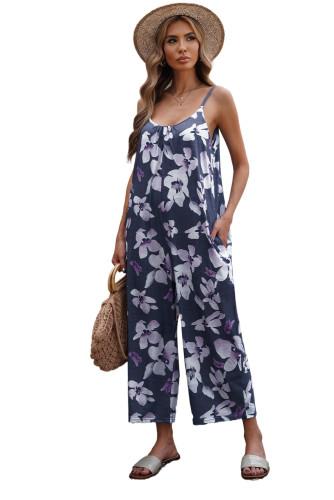 Floral Print Spaghetti Strap Wide Leg jumpsuit LC642434-22