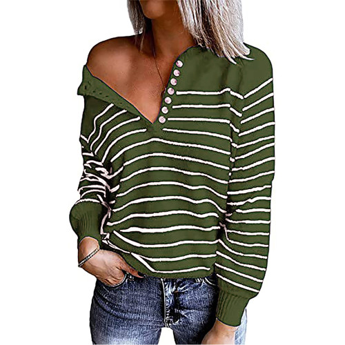 Army Green Striped Button Oversized Pullover Sweater TQK810024-27