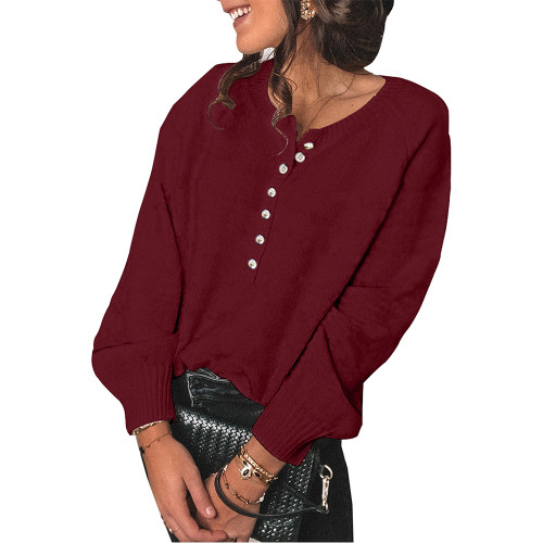 Wine Red Buttons Oversized Pullover Sweater TQK810024-23