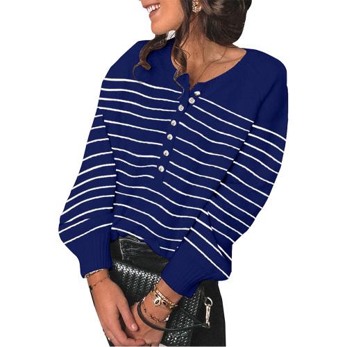 Blue Striped Button Oversized Pullover Sweater TQK810024-5