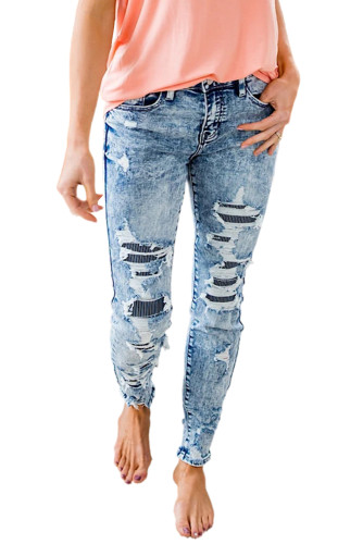 Sky Blue Striped Patchwork Distressed Slim-fit Jeans LC782249-4