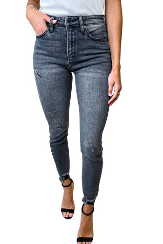 High Rise Frayed Ankle Skinny Jeans LC782673-11