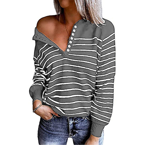 Gray Striped Button Oversized Pullover Sweater TQK810024-11