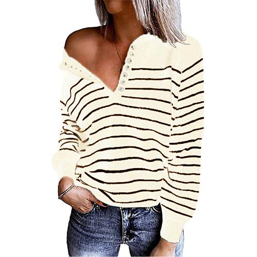 Beige Striped Button Oversized Pullover Sweater TQK810024-46