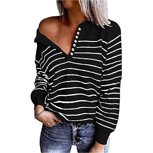 Black White Striped Button Oversized Pullover Sweater TQK810024-37
