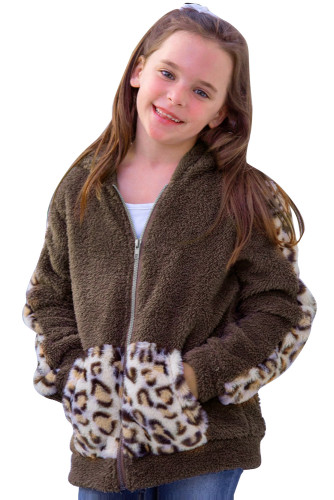 Leopard Print Splicing Faux Fleece Pocket Girl's Jacket TZ85016-17