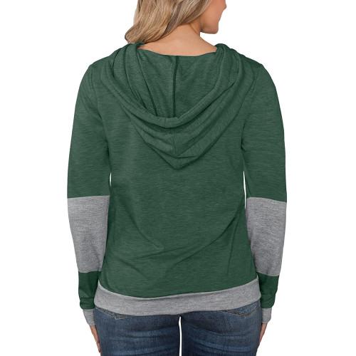 Dark Green Splice Lightweight Plus Size Drawstring Hoodie TQK810026-36