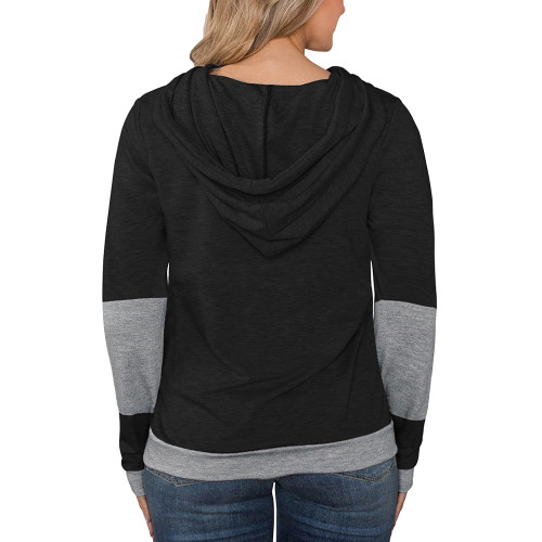 Black Splice Lightweight Plus Size Drawstring Hoodie TQK810026-2