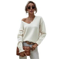 White Button Cuff OL Oversized Sweater TQK271285-1