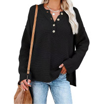 Black Button V Neck Oversized Pullover SweaterTQK271286-2