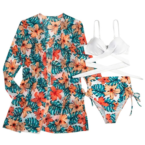 Aquamarine 3pcs Tropical Print Bikini Set TQK610211-45