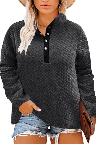 Gray Plus Size Quilted Button Up Henley Sweatshirt LC253707-11