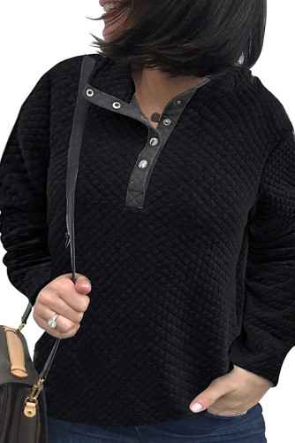 Black Plus Size Quilted Button Up Henley Sweatshirt LC253707-2