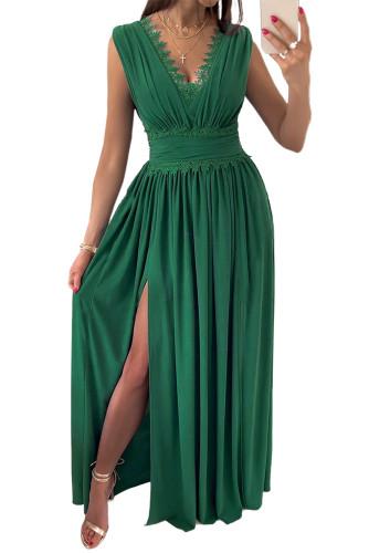 Green Crochet V Neck Sleeveless Ruched High Waist Maxi Dress LC615797-9