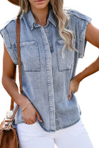 Sky Blue Rolled Sleeve Buttoned Denim Shirt with Pocket LC2551032-4