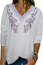 Purple Embroidered V Neck Blouse LC2519315-8