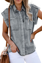 Gray Rolled Sleeve Buttoned Denim Shirt with Pocket LC2551032-11