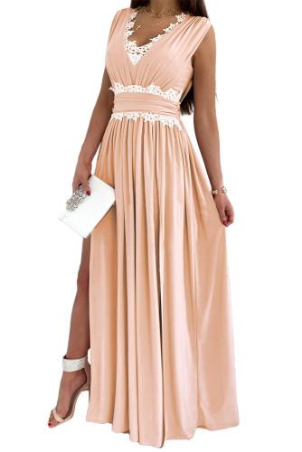 Pink Crochet V Neck Sleeveless Ruched High Waist Maxi Dress LC615797-10