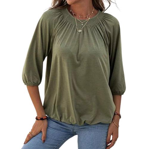 Army Green Cotton Blend Round Neck 3/4 Sleeve Top TQK210816-27