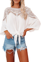 White Lace Splicing Tie Knot Bell Sleeve Blouse LC2551457-1