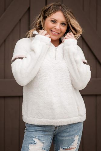 Beige Colorblock Zip Sherpa Plus Size Sweatshirt LC2518705-15