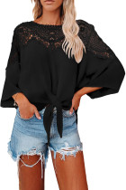 Black Lace Splicing Tie Knot Bell Sleeve Blouse LC2551457-2