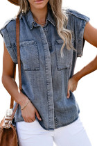 Blue Rolled Sleeve Buttoned Denim Shirt with Pocket LC2551032-5