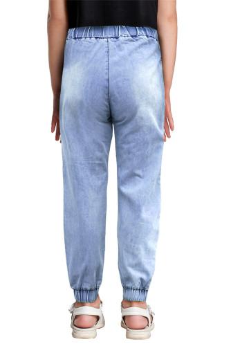 Light Blue Distressed Pocketd Little Girl Denim Joggers TZ78013-4