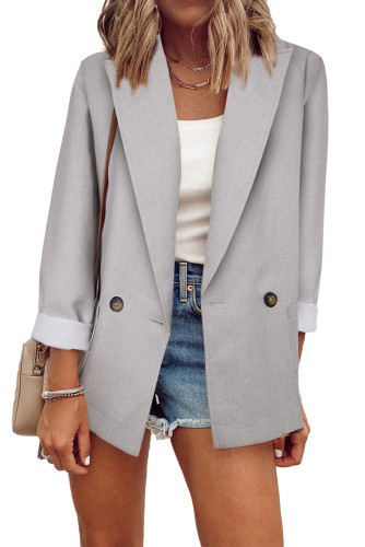 Gray Buttoned Lapel Collar Blazer with Pocket LC852186-11