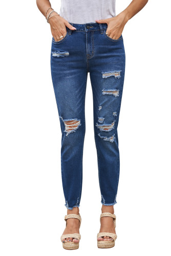 Blue Distressed Boyfriend Denim Pants LC78363-5
