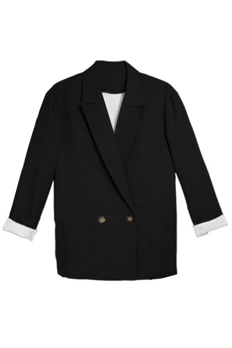 Black Buttoned Lapel Collar Blazer with Pocket LC852186-2