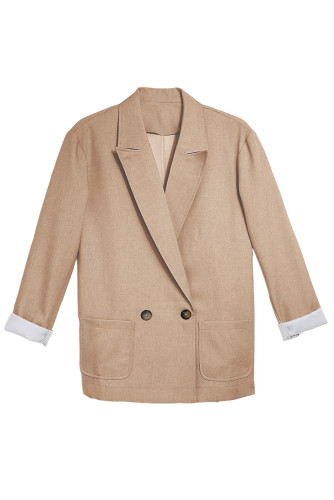 Apricot Buttoned Lapel Collar Blazer with Pocket LC852186-18