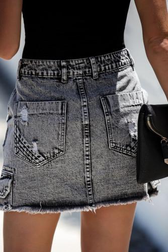 Black High Waist Distressed Denim Mini Skirt with Pocket LC65682-2