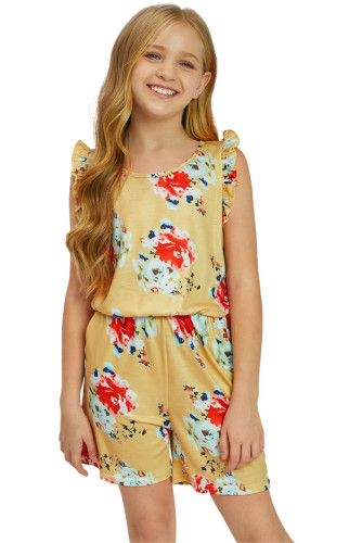 Yellow Floral Print Ruffled Sleeveless Girls Romper TZ64025-7