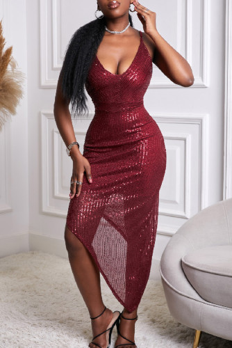 Red V Neck Bodycon Sequin Dress LC227680-3