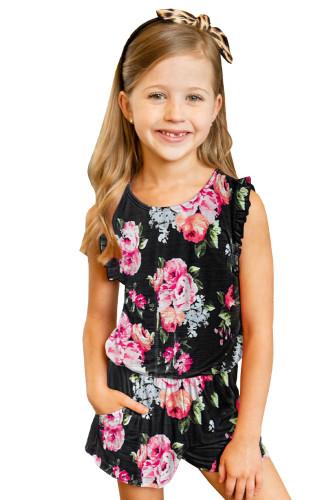 Black Floral Print Ruffled Sleeveless Girls Romper TZ64025-2
