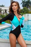 Green Color Block Zipper Long Sleeve Rash Guard Swimwear LC481011-9