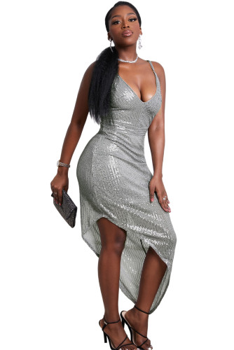 Silvery V Neck Bodycon Sequin Dress LC227680-13