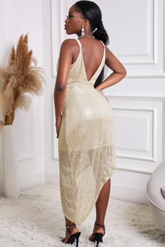 Golden V Neck Bodycon Sequin Dress LC227680-12