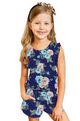 Blue Floral Print Ruffled Sleeveless Girls Romper TZ64025-5