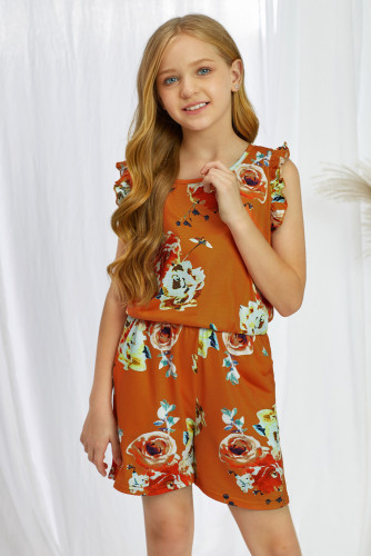 Orange Floral Print Ruffled Sleeveless Girls Romper TZ64025-14