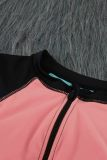 Pink Color Block Zipper Long Sleeve Rash Guard Swimwear LC481011-10