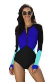 Blue Color Block Zipper Long Sleeve Rash Guard Swimwear LC481011-5