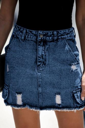 Blue High Waist Distressed Denim Mini Skirt with Pocket LC65682-5