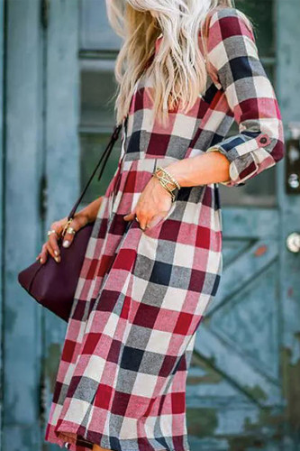 Button Pocket Tab-sleeve Plaid Shirt Dress LC228443-22