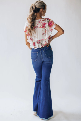 High Waist Hole Ripped Bell Jeans LC782296-5
