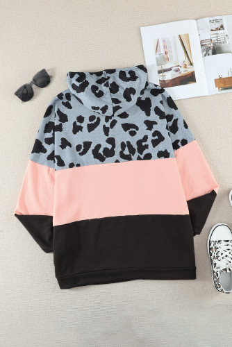 Plus Size Leopard Colorblock Splicing Hoodie with Pocket LC253701-10